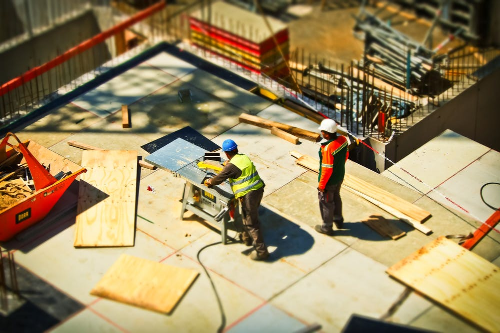 Tradespeople in a construction site