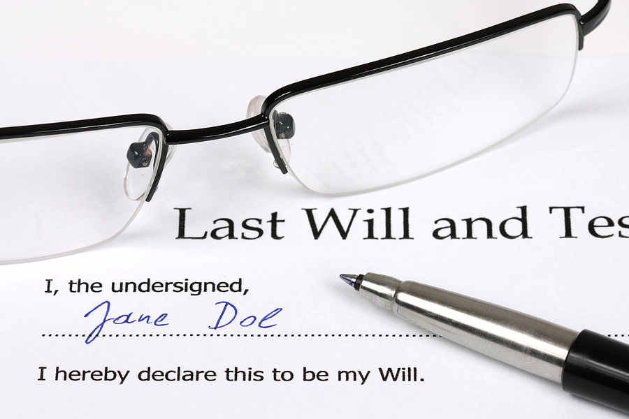 Last Will and Testament with a fictional name and signature.