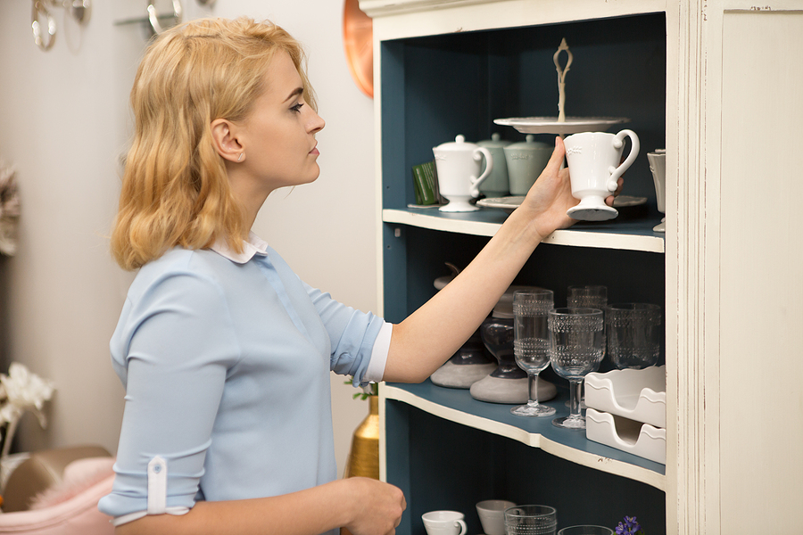 Woman shopping designer homewares