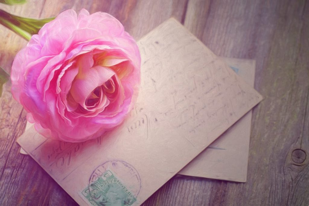 flower and a wedding card