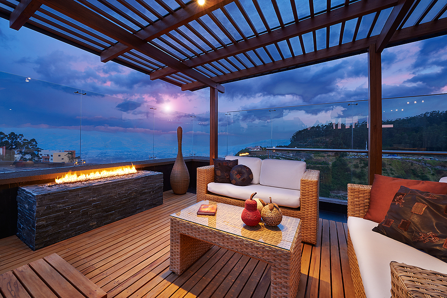 Modern terrace with bamboo decking